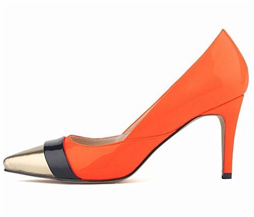 Wealsex Escarpins Vernis Couleurs Mélangées Bout Or Bout Pointu Talon Moyen Aiguille Chaussure de Soirée Mariage Mode Talon 8 Cm Femme Orange