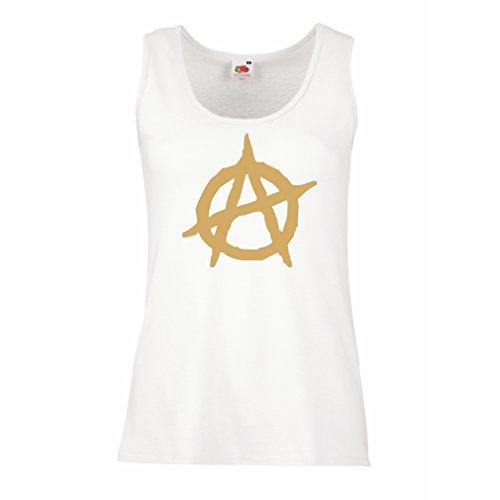 lepni.me Femme Débardeur sans Manche Symbolisme anarchiste, Conception Politique anarchisme, Symbole de L'Anarchie Blanc Or