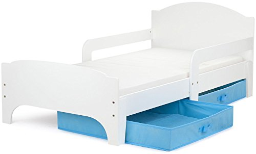 Vente Moderne Smart Lit d'Enfant Toddler 140×70 Couleur Blanche Confortable Fonctionnel Lit Simple Avec Un Tiroir Lit Pour Enfant Avec Rangement et Matelas Grand Tiroir En Textile 2 Pièces