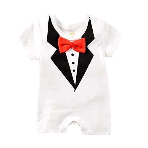 Baby Jungen Bodysuit Tuxedo Gentleman Kurzarm Strampler mit Hosenträger und Bowknot 1pc - Bodysuit Tuxedo