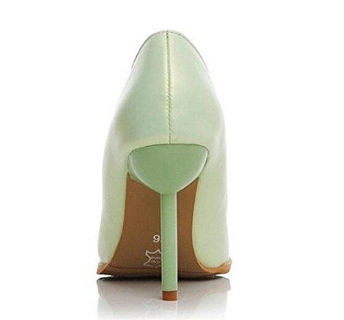 Scarpette da donna bocca superficiale sottili con tacco alto scarpe carriera a punta green