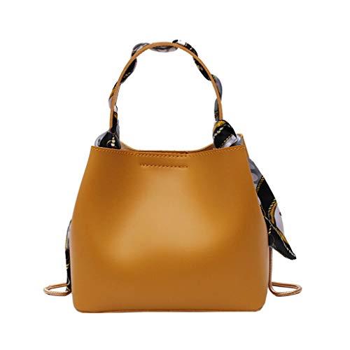 che Damen Handtasche UmhängeTaschen Neue Sommer Eimer einfache Handtasche Mode schal mesenger Tasche Gelb ()