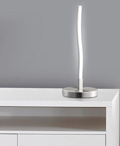 "Trango diseño Lámpara de mesa decorativa LED ondulada, Barra de luz de forma curvada Lámpara de mesa TG 2017-91, lámpara de cabecera""Florida"" incluido módulo LED de 400 lúmenes 3000K blanco cálido"