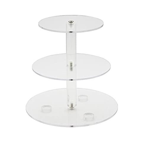 Cadillaps 3 Tier Clear Acrylic Cupcake Stand Wedding Birthday Party Cake Dessert Round Display