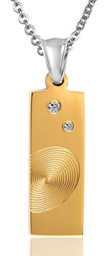 Beydodo Edelstahl Anhänger Halskette Damen Fingerabdruck Dog Tag Weiß Zirkonia Gold Kette für Freunde Partnerkette