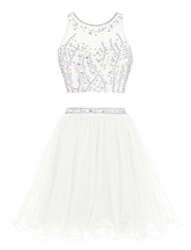 Fanciest Two Pieces Abendkleider Ballkleid Kurz Cocktail Heimkehr Dress  2016 Ivory