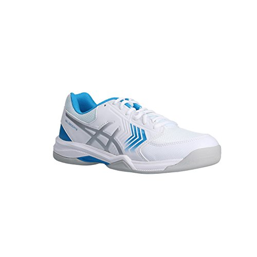 Asics Herren Tennisschuhe Gel-Dedicate 5 Indoor E713Y White/Silver/Hawaiian Surf 41.5