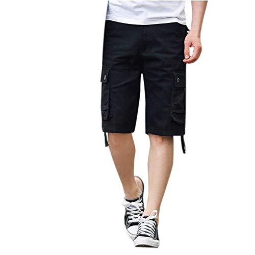 Aiserkly Herren Sommer Multi-Pocket Overalls Shorts Cargo Kurze Slim Fit Arbeitshose Pleated Freizeithose Hose -