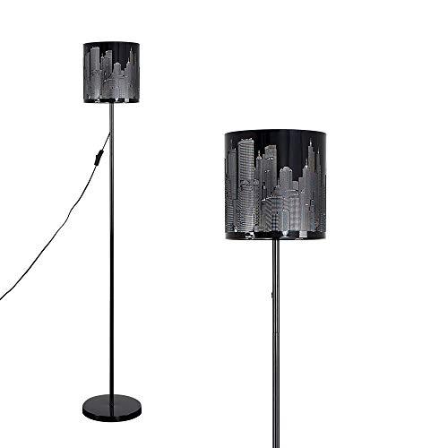 MiniSun – Lámpara de pie moderna inspirada en el paisaje de Nueva York - Negro brillante