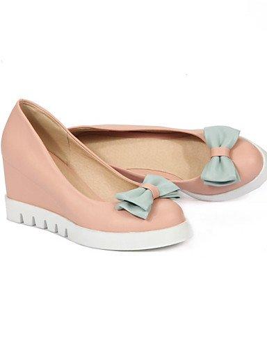 WSS 2016 Chaussures Femme-Bureau & Travail / Habillé / Décontracté-Bleu / Rose / Blanc-Talon Compensé-Compensées-Talons-Similicuir white-us7.5 / eu38 / uk5.5 / cn38