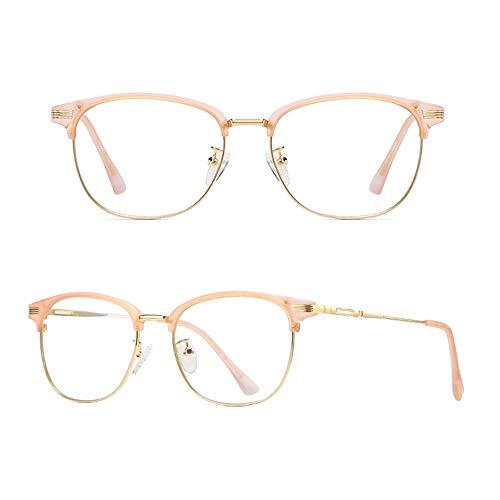 Yiph-Sunglass Sonnenbrillen Mode Agio Computer Lesebrille Blau Wanton und Blendung Keine Vergrößerung Brille Metallrahmen Anti Eyestrain Brillen für Männer und Frauen (Farbe : Pink Gloden)