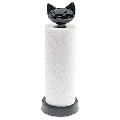 koziol Küchenrollenhalter Miaou, Kunststoff, solid schwarz, 12,8 x 12,8 x 36,9 cm