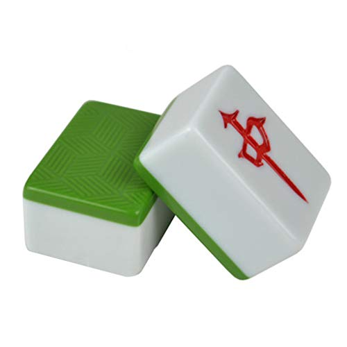 Mahjongg Mahjong Household Kleine und mittelgroße Handheld-Mahjong-Karte Mahjong Brand with Dice Alternate Card Portable Home Card (Color : Green, Size : 4 * 2.1 * 3.1cm)