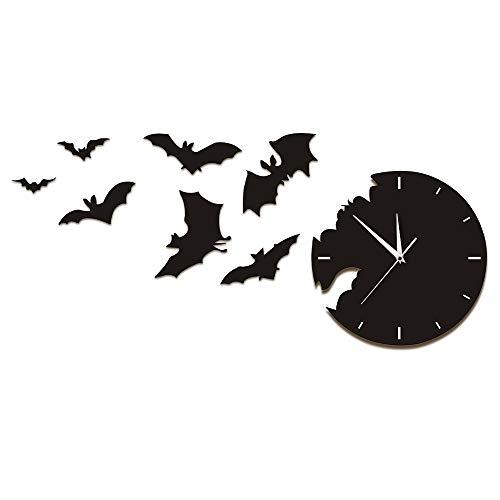 hren Unheimlich Fledermaus Symbole Fledermaus Uhr Modernes Design Von Der Flucht Uhr Halloween Fledermaus Silhouette Home Decor Schwarz Ideal Für Jeden Raum In Der Küche Zu Hause ()