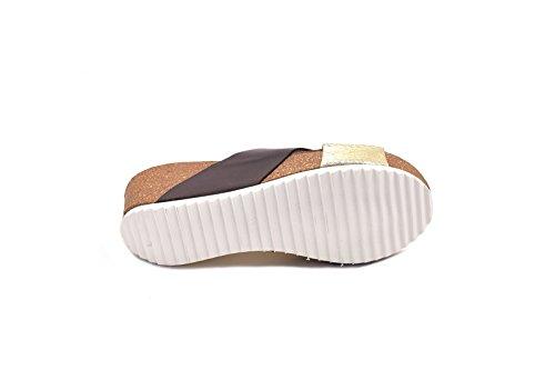 conbuenpie CBP–Sandali Bio Lady pelle colore marrone e platino (EU37) Brown und Platin