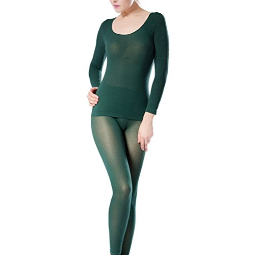 Zhhyltt Intimo termico invernale 37-degree temperature ultra-thin autumn Qiuku pants high elastic thermal underwear seamless body suit Blackish Green