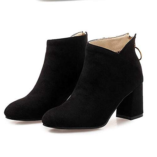 IWxez Damenmode Stiefel Wildleder Herbst Stiefel Chunky Heel Closed Toe Booties/Stiefeletten Schwarz/Mandel / Burgund, Schwarz, US5.5 / EU36 / UK3.5 / CN35