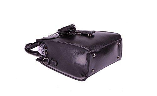 YouPue Elegant Frauen Handtasche Glatt PU Leder Damen Taschen Henkeltaschen Schultertaschen Schwarz