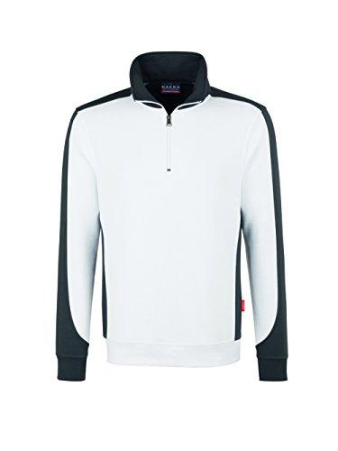 HAKRO Zip Sweatshirt Contrast Performance Weiß