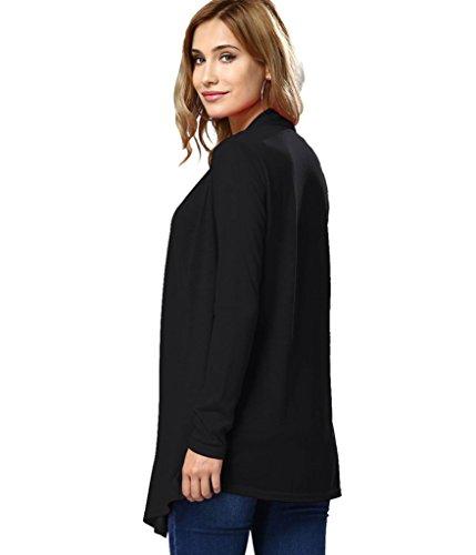 Choose Women's Manica lunga classico anteriore aperto drappeggiato Cardigan Nero