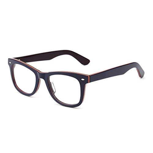 JIM HALO Klassisch RX Brille Rahmen Federscharnier Klar Linse Platz Gläser Damen Herren(Blau Lila/Klar)