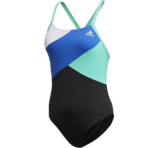 adidas Badeanzug für Damen im Colorblock Desing für Dein Tägliches Schwimmtraining, Farbe:Schwarz, Damen Größen:38