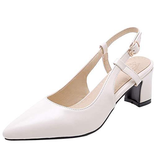 Coolulu Damen Slingpumps High Heels Chunky Heels Pumps mit Blockabsatz 5cm Absatz Schuhe (Weiß,40) Chunky Heel Slingbacks