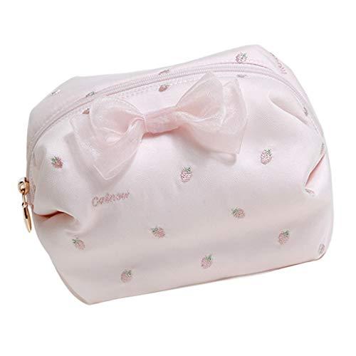 Trousses à maquillage Sac Cosmétique Sweet Girl Heart Broderie Aux Fraises Petit Portable Mini Sac De Toilette Travel Goods Pink (Color : Pink, Size : 16 * 11 * 11cm)