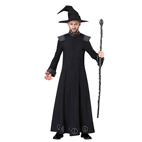 Cosplay Kostüm Dark Elf - Adult Dark Wizard Kostüm, Herren Mystery Godfather Ghostly Kostüm, Handsome Elf Prince, Geeignet für Halloween Cosplay Theme Party, Maskerade,L
