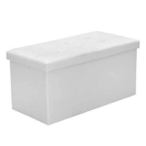 Sitzhocker Weiß Sitzwürfel Faltbar Sitzbank PVC-Leder Wohnzimmer Polsterhocker Sitzbox für Spielzeug Magazine belastbar bis 300KG Aufbewahrungsbox 76 * 38 * 38cm -