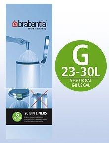 Brabantia 6 Rolls x 20 Type G 30 Litre Bin Liners (120 bags in total) by Brabantia Brabantia 30 L Bin Liner
