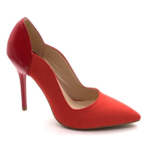 Angkorly - Damen Schuhe Pumpe - Stiletto - Patent Stiletto high Heel 11 cm - Rot J76-1 T 38 1 High Heel