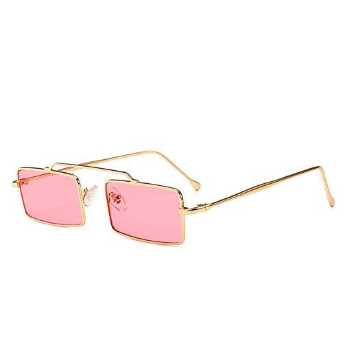 MJDABAOFA Sonnenbrillen,Retro Kleine Rechteckige Sonnenbrille Gold Frame Pink Linse Inspiriert Frauen Vintage Designer Sonnenbrillen Damen Für Schutzbrillen Quadrat Schattierungen Brillen