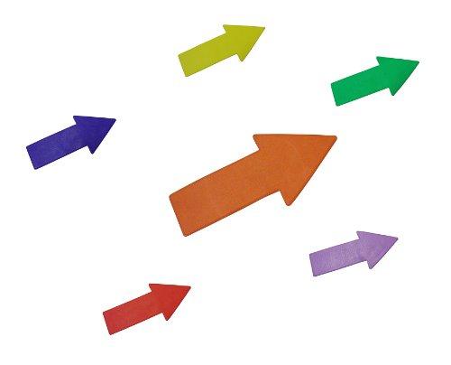 Marquage au sol - en flèche - 30 cm - bleu - jaune - vert - lilas - orange - rouge