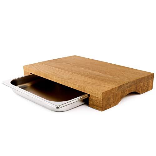 cleenbo® Schneidebrett Cube Oak Profi Holz Küchenbrett aus geölter Eiche mit Gastronorm Edelstahl Auffangschale, Holzbrett groß mit Auffangbehälter Maße: 43 x 29 x 7 cm