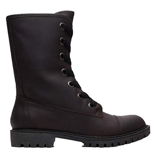 Roxy (ROY11) Vance - Lace-up Leather Boots for Women Slouch