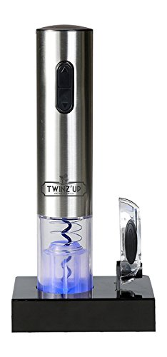 Tire bouchon électrique sans-fil Twinz'up - Coffret avec coupe-capsule et socle de recharge - Batterie de...
