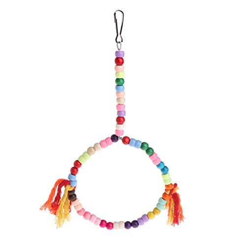 281cfce0fd2a SimpleLife Parrot Bird Toys Swing Round Ring Chain Hanging Cage Chew Stand  Colorido Perca