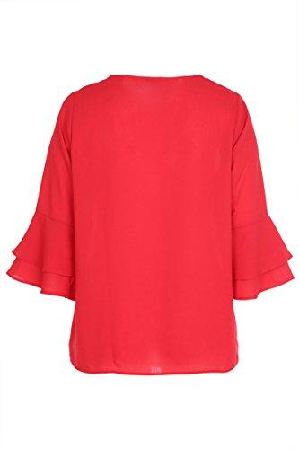 Paprika Damen große Größen Bluse mit Rüschenärmeln Rot