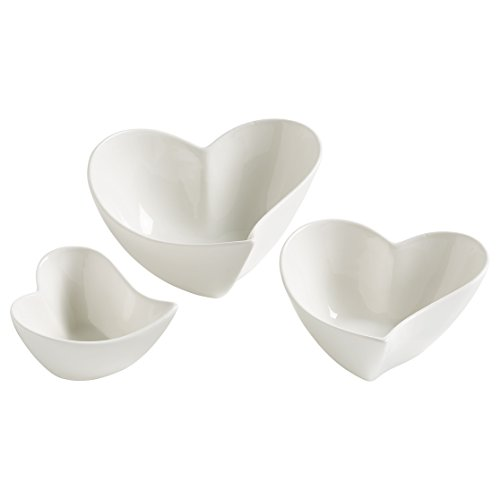 Maxwell & Williams jx57906 Heart Ensemble de Bols chantants, 2 unités, Porcelaine, Blanc, 12 x 11,5 x 6,5 cm