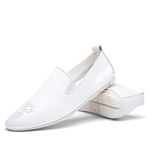 Minitoo Boys Mens Cap-Toe Slip-On Boat Shoes Casual Loafers White