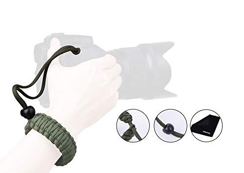 dslr handschlaufe Handgelenkschlaufe für Kamera, PROWITHLIN Paracord Kameraschlaufe Trageschlaufe für Kamera DSLR SLR (Canon NIikon Sony Pentax etc) (Grün)