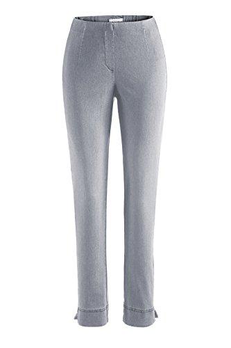 Stehmann - Stretchhose INA 760 W - Gerade geschnittene Pull-On Hose mit kleinem Schlitz, Jeans - Innenbeinlänge 76 cm, Hosengröße:42, Farbe:silber (Hose Schlitz Gerade)