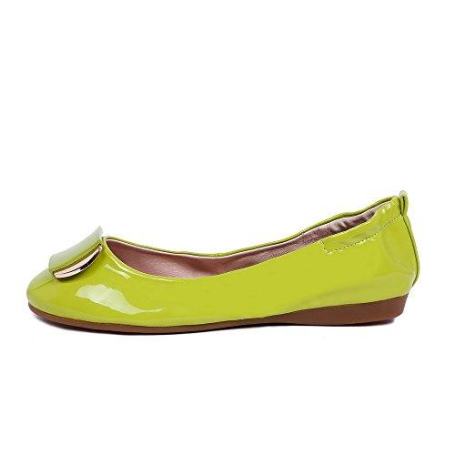 VogueZone009 Femme Rond Tire Pu Cuir Couleur Unie à Talon Bas Chaussures Légeres Vert