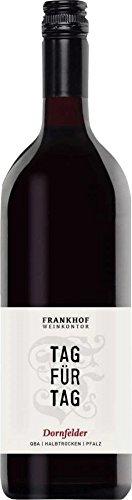 Tag für Tag Dornfelder halbtrocken 1,0 l 2017 - Frankhof Weinkontor | halbtrockener Rotwein | deutscher Wein aus der Pfalz |1 x 1,00 Liter