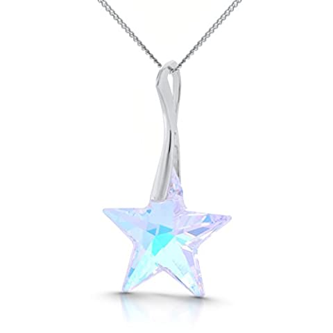 Galaxy Jewellery 925 Sterling Silver Pendant Necklace with Genuine Swarovski Star Crystal - Ideal Stylish Gift for Women & Girls In A Gift Box – Impress With Your