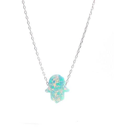 Remi Bijou Wunderschöne 925 Sterling Silber Halskette Kette + Anhänger - Fatimas Hand Hamsa Buddha Hand Opal türkis grün