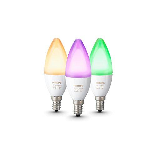 Philips Hue White and Color Ambiance Lampadine LED, Attacco E14, 6.5 W, Confezione da 3 Pezzi