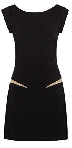erdbeerloft–Femme Style Années 70'Il Mini robe/Dress de 2colorées, Nude/effet Noir avant/arrière raffinée, 38–40, Noir - Noir - 40 cm