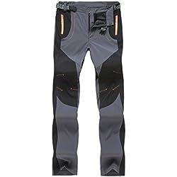 Solike Pantalons de Travail Pantalon Cargo Homme Femme Résistant à l'abrasion Genouillères avec Poches - Épaisse et Mince - pour Toute la Saison (Large, Gris(Femme/Mince))